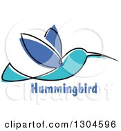 Clipart Of A Sketched Hummingbird Over Text 2 Royalty Free Vector Illustration