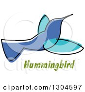 Clipart Of A Sketched Hummingbird Over Text Royalty Free Vector Illustration