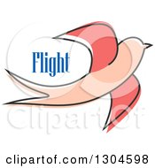 Clipart Of A Sketched Pink Bird And Flight Text Royalty Free Vector Illustration by Vector Tradition SM