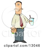 Man Eating A Hamburger And Drinking Cola Clipart Illustration