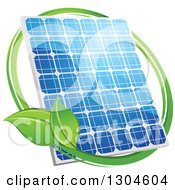 Shiny Blue Solar Panel With A Circle Of Green Leaves