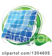 Clipart Of A Shiny Blue Solar Panel With A Circle Of Green Leaves 2 Royalty Free Vector Illustration