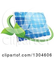 Clipart Of A Shiny Blue Solar Panel With A Circle Of Green Leaves 3 Royalty Free Vector Illustration