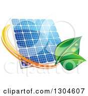 Shiny Blue Solar Panel With An Orange Circle And Green Leaves