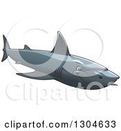 Clipart Of A Tough Shark Swimming To The Right Royalty Free Vector Illustration