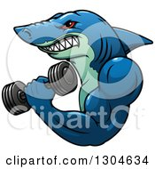 Clipart Of A Cartoon Tough Blue Bodybuilder Shark Working Out With A Dumbbell Royalty Free Vector Illustration