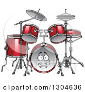 Clipart Of A Cartoon Red Drum Set Character Royalty Free Vector Illustration