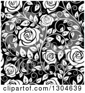 Clipart Of A Seamless Background Pattern Of White Roses And Leaves Over Black Royalty Free Vector Illustration