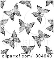 Seamless Black And White Butterfly Background Pattern 10