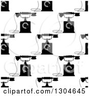 Clipart Of A Seamless Background Pattern Of Black And White Retro Telephones 2 Royalty Free Vector Illustration