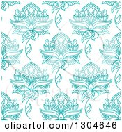 Clipart Of A Background Pattern Of Seamless Turquoise Henna Flowers On White Royalty Free Vector Illustration by Seamartini Graphics