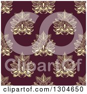 Clipart Of A Seamless Pattern Background Of Yellow Lotus Henna Flowers On Maroon Royalty Free Vector Illustration