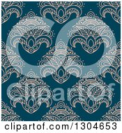Clipart Of A Seamless Pattern Background Of Slmon Pink Lotus Henna Flowers On Blue Royalty Free Vector Illustration