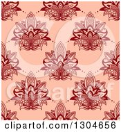 Clipart Of A Seamless Pattern Background Of Red Lotus Henna Flowers On Pink Royalty Free Vector Illustration
