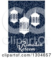 Clipart Of A Ramadan Kareem Greeting With White Lanterns Over A Blue Pattern Royalty Free Vector Illustration by Vector Tradition SM