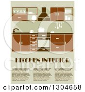 Clipart Of A Brown Kitchen Interior With Sample Text Royalty Free Vector Illustration