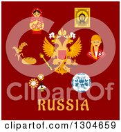 Clipart Of A Flat Modern Design Of Russian Symbols And Text On Red Royalty Free Vector Illustration by Vector Tradition SM