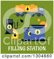 Clipart Of A Flat Modern Filling Station And Text Over Green Royalty Free Vector Illustration