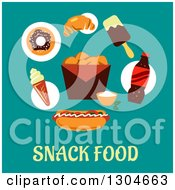 Clipart Of A Modern Flat Design Of Junk Over Snack Food Text On Blue Royalty Free Vector Illustration