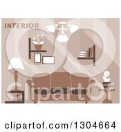 Clipart Of A Brown Living Room Interior With Text Royalty Free Vector Illustration by Vector Tradition SM