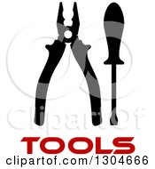 Clipart Of A Black Silhouetted Screwdriver And Pliers Over Red Tools Text Royalty Free Vector Illustration by Vector Tradition SM