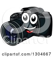 Clipart Of A Happy Dslr Camera Smiling Royalty Free Vector Illustration