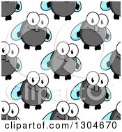 Clipart Of A Seamless Background Pattern Of Happy Cartoon Flies 2 Royalty Free Vector Illustration