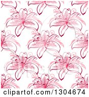 Clipart Of A Seamless Background Pattern Of Pink Lily Flowers Royalty Free Vector Illustration