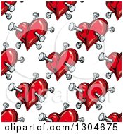 Seamless Background Pattern Of Red Hearts Stabbed With Nails 3