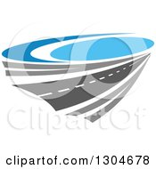 Clipart Of A Highway Road And Blue Sky Royalty Free Vector Illustration