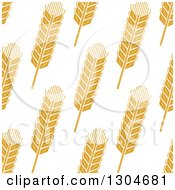 Clipart Of A Seamless Background Patterns Of Gold Wheat On White 2 Royalty Free Vector Illustration