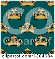 Clipart Of A Seamless Pattern Background Of Gold Crowns On Teal Royalty Free Vector Illustration