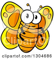 Cartoon Happy Orange And Yellow Butterfly
