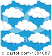 Clipart Of A Seamless Pattern Background Of Puffy Clouds In A Blue Sky 5 Royalty Free Vector Illustration by Vector Tradition SM