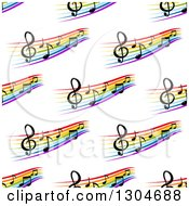Clipart Of A Seamless Background Pattern Of Colorful Staffs And Music Notes 2 Royalty Free Vector Illustration