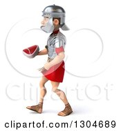 Clipart Of A 3d Young Male Roman Legionary Soldier Walking To The Left And Holding A Beef Steak Royalty Free Illustration