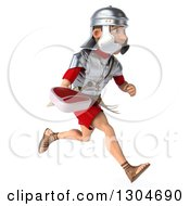 Clipart Of A 3d Young Male Roman Legionary Soldier Running To The Right And Holding A Beef Steak Royalty Free Illustration