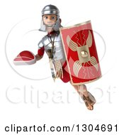 Clipart Of A 3d Young Male Roman Legionary Soldier Holding A Beef Steak And Shield And Flying Royalty Free Illustration