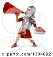 Clipart Of A 3d Young Male Roman Legionary Soldier Holding A Beef Steak And Announcing With A Megaphone Royalty Free Illustration