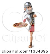 Clipart Of A 3d Full Length Young Male Roman Legionary Soldier Holding A Pizza Around A Sign Royalty Free Illustration