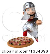 Clipart Of A 3d Young Male Roman Legionary Soldier Holding A Pizza Around A Sign Royalty Free Illustration