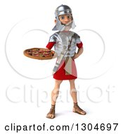 Clipart Of A 3d Young Male Roman Legionary Soldier Holding A Pizza Royalty Free Illustration