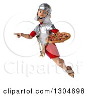 Clipart Of A 3d Young Male Roman Legionary Soldier Holding A Pizza Pointing And Flying Royalty Free Illustration