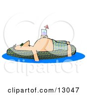 Drunk Man Passed Out Or Sun Bathing On A Pool Float Clipart Illustration
