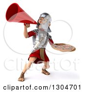 Clipart Of A 3d Young Male Roman Legionary Soldier Holding A Pizza And Using A Megaphone Royalty Free Illustration