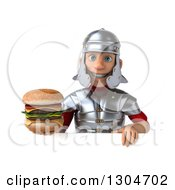 Clipart Of A 3d Young Male Roman Legionary Soldier Holding A Double Cheeseburger Over A Sign Royalty Free Illustration