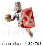 Clipart Of A 3d Young Male Roman Legionary Soldier Holding A Double Cheeseburger A Shield And Flying Royalty Free Illustration