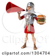 Clipart Of A 3d Young Male Roman Legionary Soldier Holding A Double Cheeseburger And Announcing With A Megaphone Royalty Free Illustration