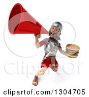 Clipart Of A 3d Young Male Roman Legionary Soldier Holding A Double Cheeseburger And Announcing Upwards With A Megaphone Royalty Free Illustration