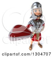 Clipart Of A 3d Young Male Roman Legionary Soldier Holding Up A Beef Steak Royalty Free Illustration